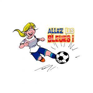Visuel «Allez les bleues» : joueuse blonde