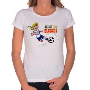 T-shirt Femme «Allez les bleues» : blonde