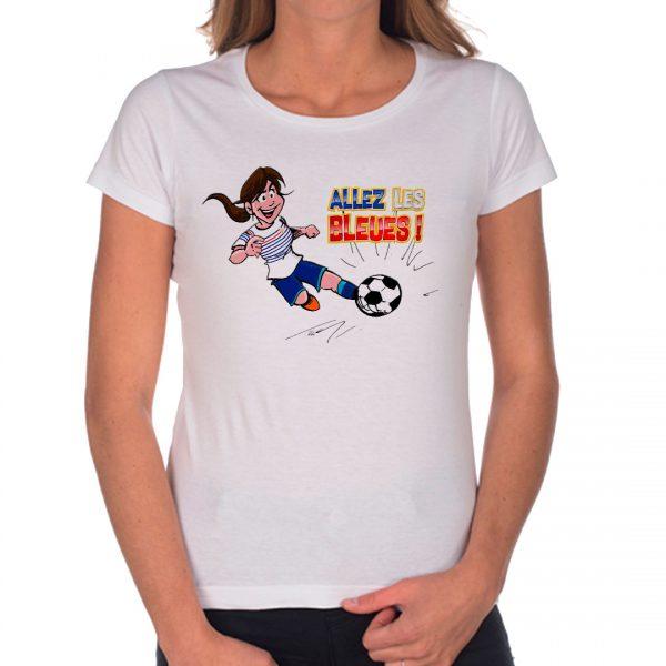 T-shirt Femme «Allez les bleues» : brune